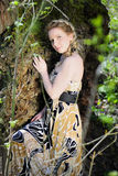 Beautiful girl in wood by summer Royalty Free Stock Image