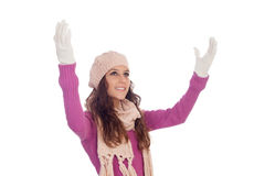Beautiful girl with wool hat and scarf Stock Photography