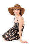 Beautiful the girl wore a big hat Royalty Free Stock Photography