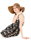 Beautiful the girl wore a big hat Royalty Free Stock Photo