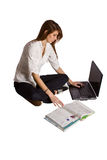 Beautiful Girl Working on Her Laptop Stock Photo