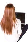 Beautiful Girl Working on Her Laptop Stock Image