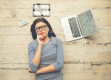 Beautiful girl working at home Royalty Free Stock Image