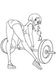 Beautiful girl workout. Black and white,art,outline, on a white Stock Image