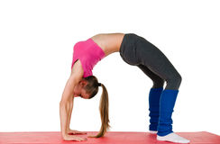 Beautiful Girl In Workout Clothes Doing Backbend Stock Images