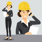 Beautiful girl in workplace wearing safety helmet. Construction, Uniform dress vector illustration