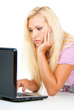 Girl works at the computer Royalty Free Stock Photo