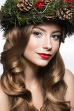 Beautiful girl with a wreath of fir branches and cones. New Year image. Beauty face. Royalty Free Stock Photography