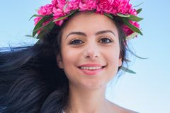 Beautiful girl with a wreath of flowers on her head Royalty Free Stock Photography