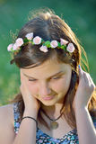 Beautiful girl with wreath of flowers Royalty Free Stock Images