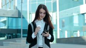 Beautiful girl writes text massage stock footage