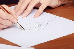 Beautiful girl writing a letter Royalty Free Stock Photos