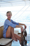 Beautiful girl on the yacht Royalty Free Stock Photos