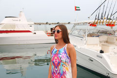 Beautiful girl at yacht - Dubai Royalty Free Stock Photos