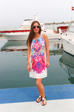 Beautiful girl at yacht - Dubai Royalty Free Stock Photography