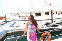 Beautiful girl at yacht - Dubai Royalty Free Stock Photography