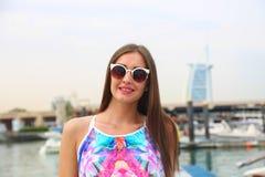 Beautiful girl at yacht - Dubai Royalty Free Stock Photo