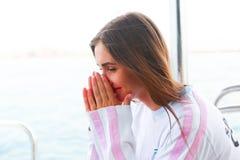 Beautiful girl at yacht - Dubai Stock Photography