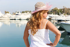 Beautiful Girl with yachts Royalty Free Stock Photography