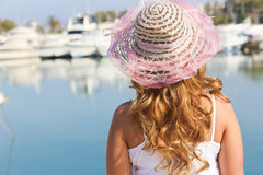 Beautiful Girl with yachts Stock Images