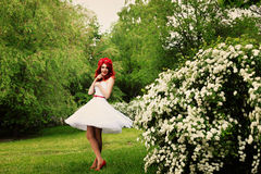 Beautiful girl (25 years old) in white wedding dress Royalty Free Stock Photo