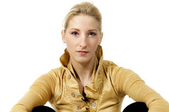 Beautiful girl, yellow blouse Royalty Free Stock Photo