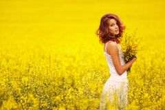 Beautiful girl in the yellow field Royalty Free Stock Images