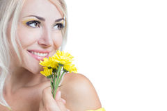 Beautiful girl with yellow flowers. On a white background Stock Photos