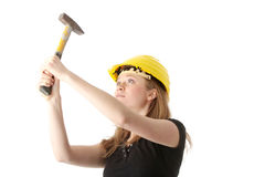 Beautiful girl in yellow helmet Royalty Free Stock Image