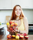 Beautiful girl in yellow holding peaches Stock Image