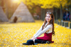 Beautiful Girl with Yellow Leaves in Nami Island. Stock Image