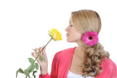 Beautiful girl with a yellow rose. Stock Photography