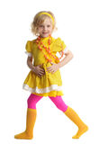 Beautiful girl in yellow sundress Royalty Free Stock Image