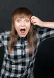 Beautiful girl yells Royalty Free Stock Photography