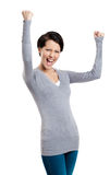 Beautiful girl yes gesturing is happy Stock Image