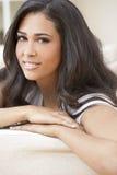Beautiful Girl Young Hispanic Woman at Home royalty free stock photos