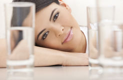 Beautiful Girl Young Hispanic Woman Looking Stock Photography