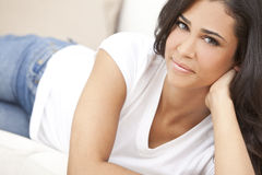 Beautiful Girl Young Hispanic Woman Relaxing royalty free stock photography