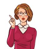 Beautiful girl or young woman with index finger. Pin-up, business concept. Pop art retro comic style. Cartoon vector vector illustration