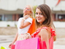 Beautiful Girlfriends Gone Shopping Royalty Free Stock Photos