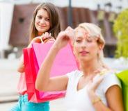 Beautiful Girlfriends Gone Shopping Stock Photos