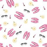 Beautiful girlish pattern with accessories Stock Image