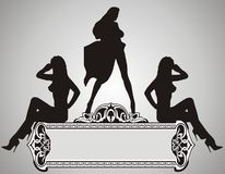 Beautiful Girls. On silver background -  illustration Stock Image