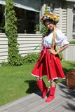 Beautiful girls actress animator in the national Ukrainian costume Royalty Free Stock Images