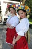 Beautiful girls actress animator in the national Ukrainian costume Royalty Free Stock Image