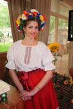 Beautiful girls actress animator in the national Ukrainian costume Royalty Free Stock Images