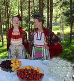 Beautiful girls actress animator in the national Ukrainian costume Stock Photo