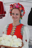 Beautiful girls actress animator in the national Ukrainian costume Royalty Free Stock Photos