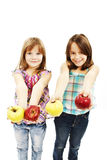Beautiful girls with apples Stock Image