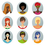 Beautiful girls avatars.Various hair style icons Stock Photography